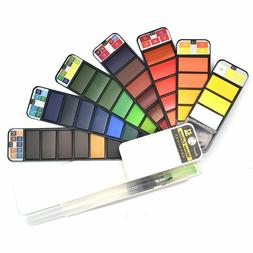 18/25/33/42 Colors Solid Watercolor Paint Set With Water Bru