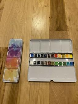 Holbein Artists Watercolor Hand Poured Metal Set 24 Half Pan