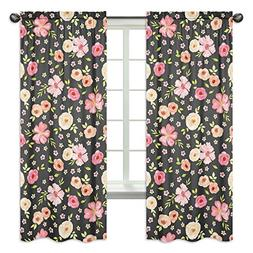 Black and Blush Pink Window Treatment Panels Curtains for Wa