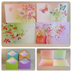 Papyrus Blank Note Cards- WATERCOLOR BUTTERFLY - BIRD-  + Li