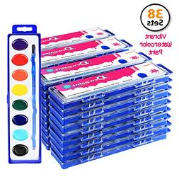 Bulk Water Color Paint Party Pack - Jumbo Set of 38 - Oval