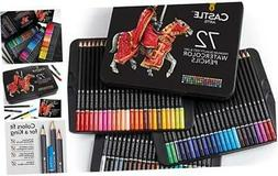 Castle Art Supplies 72 Watercolor Pencils Set for Adults and