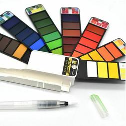 Colors Solid Watercolor Paint Brush Pen Set With Water Porta
