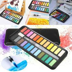 Professional 24 Colors Watercolor Paint Draw Painting + Wate