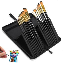 High Quality 15pcs Art Paint Brush Kit with Travel Case for