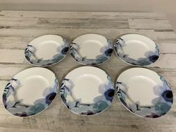 "Lenox Indigo Watercolor Floral Salad Plates 9.5"" - Set of"