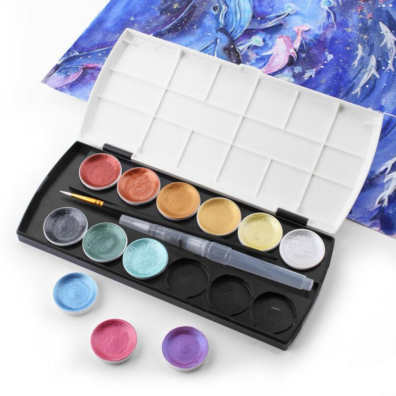 12Color Metallic Paint Set Gold Paint With Water Brush