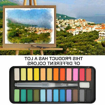 24 Colors Watercolor Paint Set With Brush Oil Painting Water