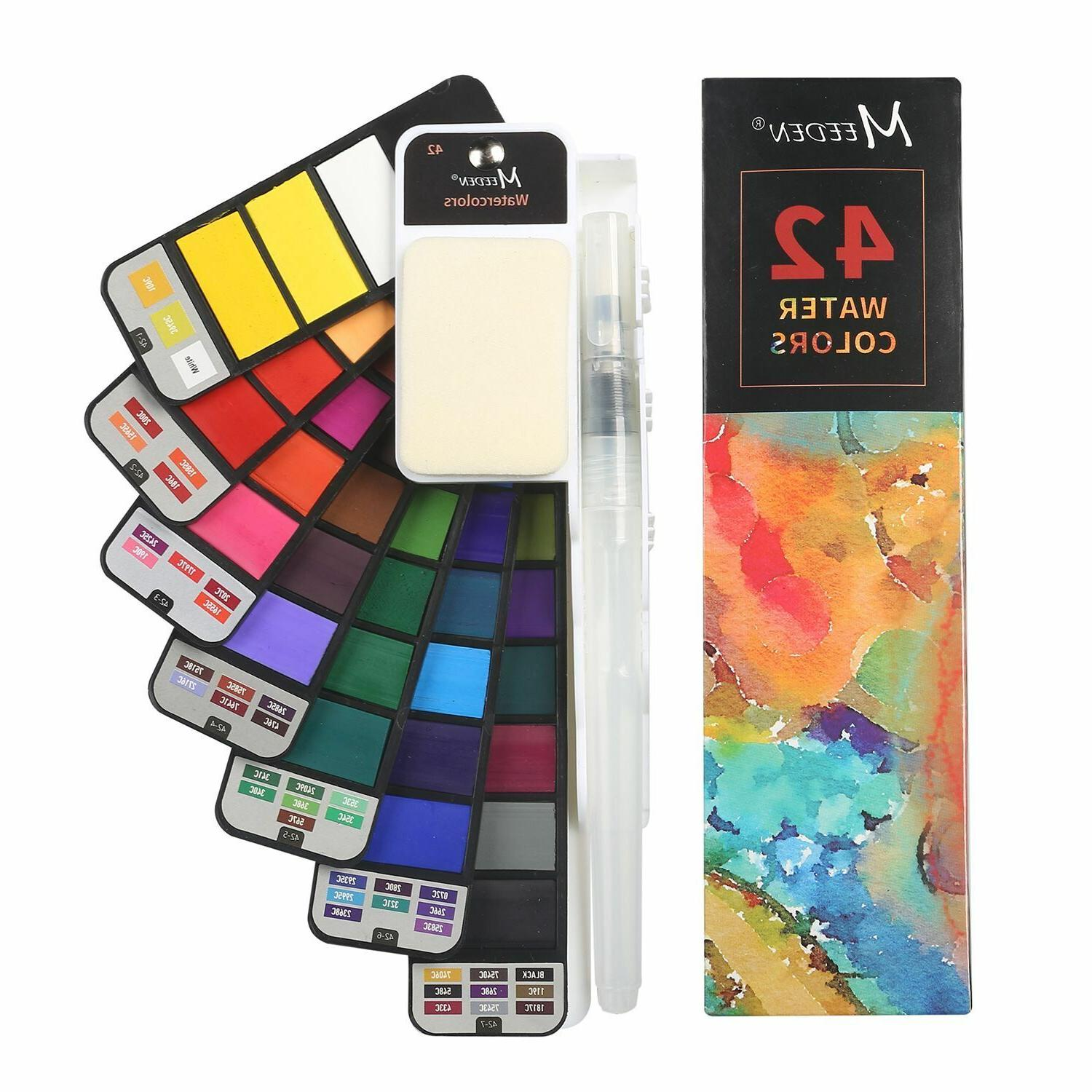 Foldable Watercolor Paint Set – 42 Colors with 4 Watercolo