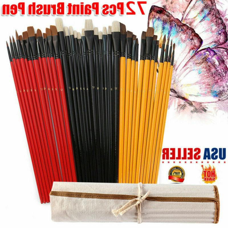 US 72Pcs Paint Synthetic Oil Brushes