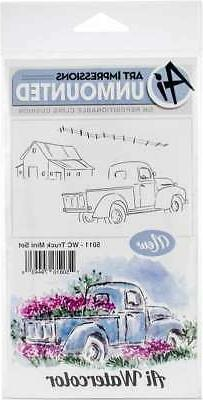 Art Impressions Watercolor Cling Rubber Stamps -Truck Mini S