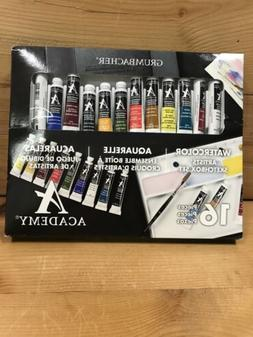 NEW Grumbacher 16 Piece Artists Watercolor Set, Portable