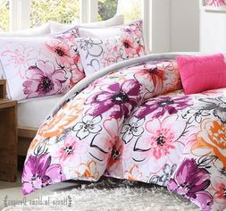 OLIVIA PINK PURPLE 5pc COMFORTER SET : FLORAL GREY Watercolo