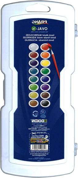 Prang Oval-16 Pan Watercolor Paint Set, 16 Assorted Colors,