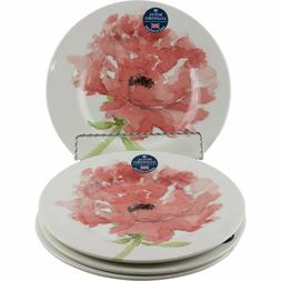 Royal Stafford Red Poppy Watercolor Flower Salad Plates Set