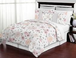 Sweet Jojo Blush Pink Grey Shabby Chic Watercolor Floral 3pc