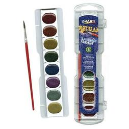 Prang Washable Watercolor Set, 8 Glitter Colors with Brush,