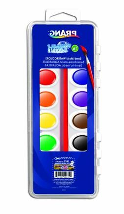 Prang Washable Watercolor Set, 16 Classic Colors with Brush,