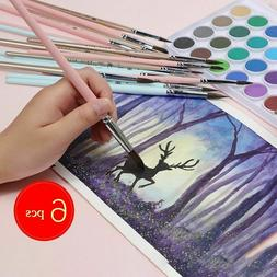Watercolor Brush Hair 6pcs Round Pointed Painting Set Adult