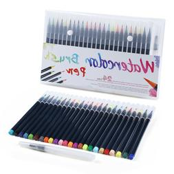24 Paint Markers Watercolor Brush Pens with Flexible Brush T