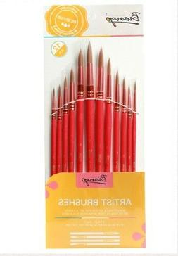 Bianyo Watercolor, Gouache, Oil Paint Brushes Set Red Round