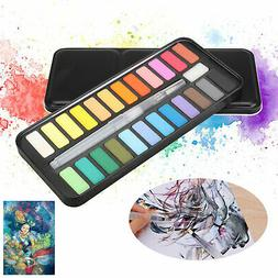 Watercolor Paint Set of 24 Solid Cake Colors Art Painting wi